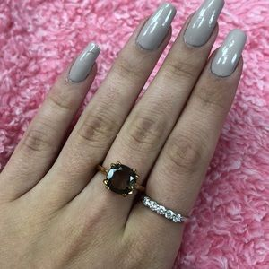 Rose gold and brown stone ring